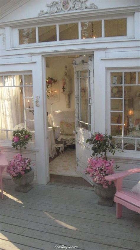 pretty front entrance pink home country house style
