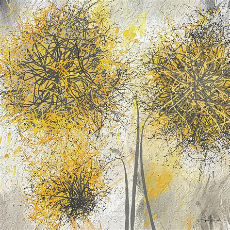 painting greys brighter blooms yellow and gray modern artwork painting by lourry legarde