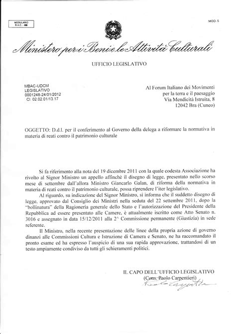 impostazione lettere la risposta ministro ornaghi alla nostra lettera www