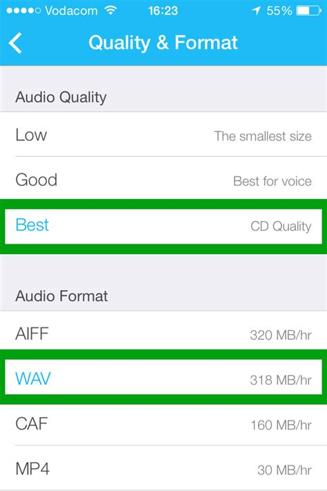 audio format quality best recording great audio on ios devices all the world