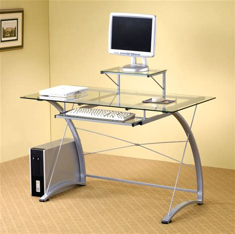 Furniture Captivating Rectangular Glass Top In Silver Glass Computer Desk Ikea