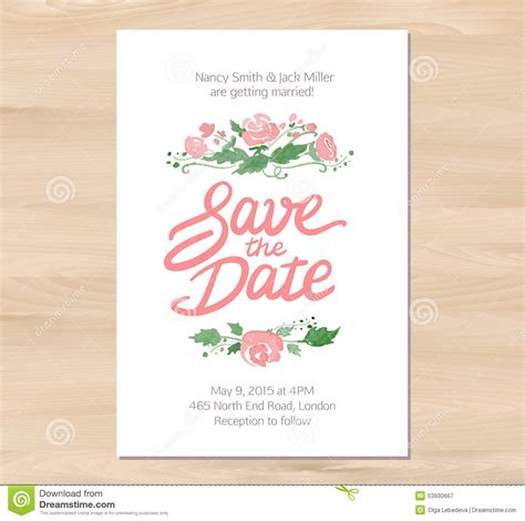 vector wedding invitations vector wedding invitation with watercolor flowers stock