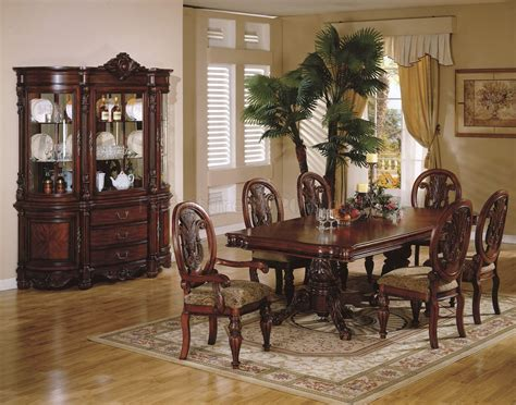 cherry dining room sets traditional dining room home cherry finish traditional dining room w hand carved details