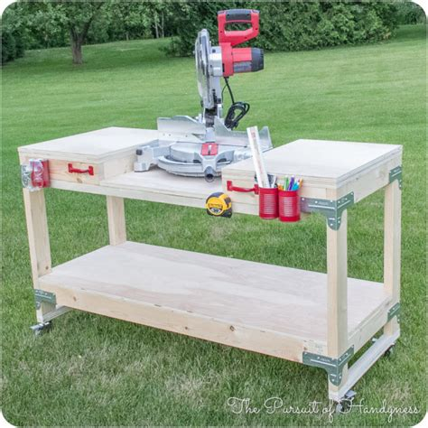 build miter saw bench diy mobile miter saw stand giveaway
