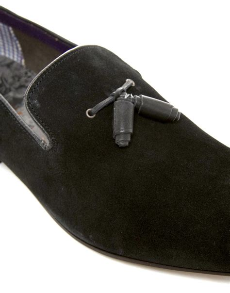 ted baker suede loafers ted baker erdvis suede tassel loafers in black for lyst