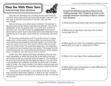 4th Grade Reading Comprehension Worksheets With Answers by They See With Their Ears 4th Grade Reading Comprehension