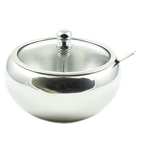 Glass Cup With Lid Spoon zoie stainless steel sugar bowl with glass lid