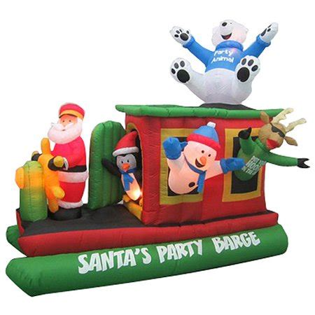 inflatable santa in boat animated airblown 7 5 x walmart