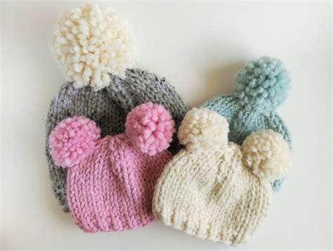 Pom Pom Chunky Beanie knitting pattern chunky pom pom hat chunky knit hat