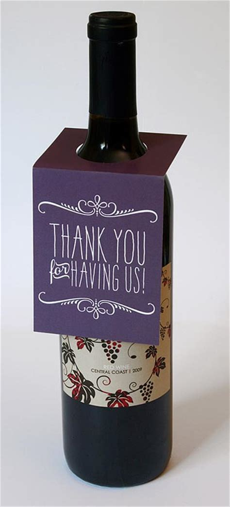 thank you letter wine gift thank you wine bottle tag sky of blue cards