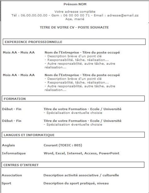 Comment Ecrire Un Cv by Comment Faire Un Bon Curriculum Vitae 9 233