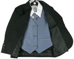boys five piece black suit with blue vest tie and pocket