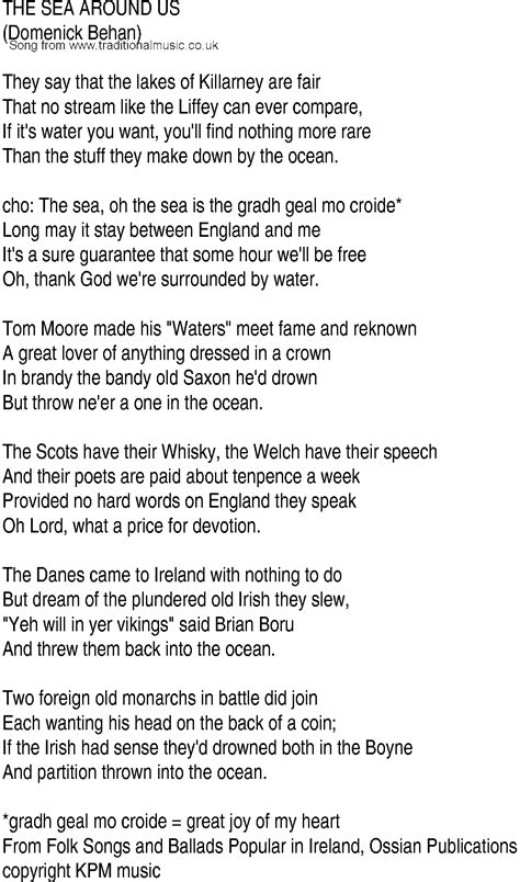 song with lyrics song and ballad lyrics for the sea around us