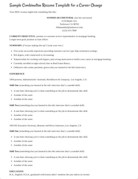 career change resume sles career changer tips and resume sles sle templates