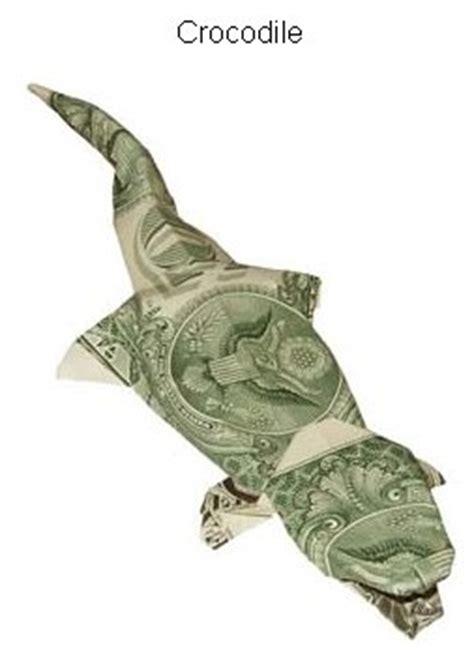 Crocodile Origami - folded money crocodile dollar bill origami