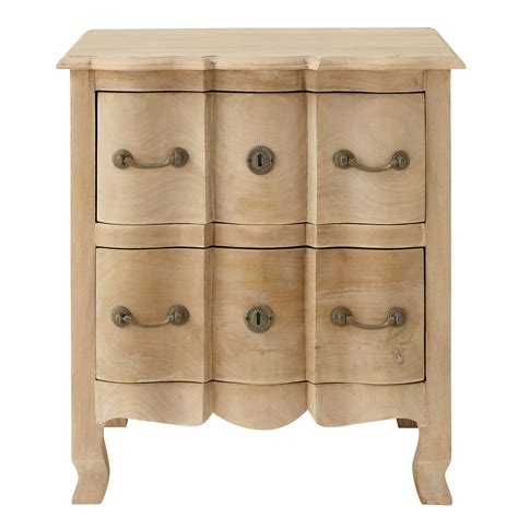 Bedside Table With Drawers Mango Wood Bedside Table With Drawers W 54cm Colette Maisons Du Monde
