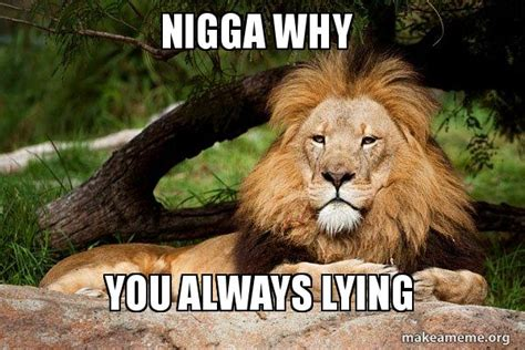Lion Meme - nigga why you always lying contemplative lion make a meme