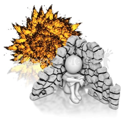 Stick Figure Hiding From Explosion 3d Figures Great Clipart For Presentations Www Explosion Animation For Powerpoint