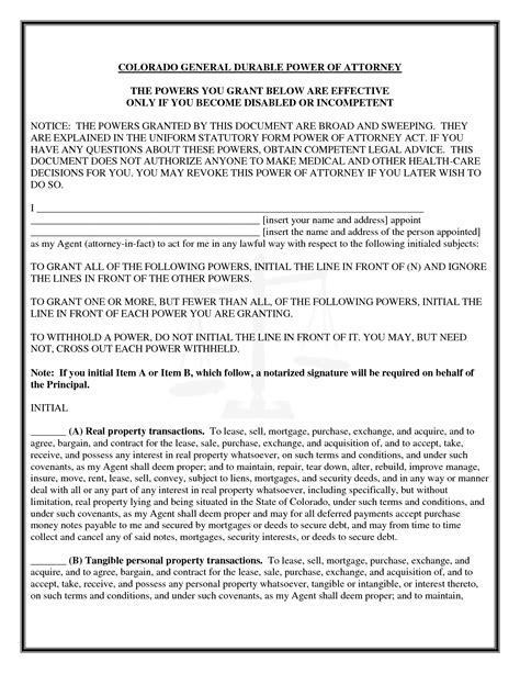 durable power of attorney form best photos of power of attorney property form illinois