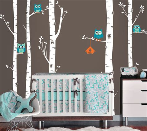 birch tree wall stickers owls and birch tree forest wall decal from inaninstantart on
