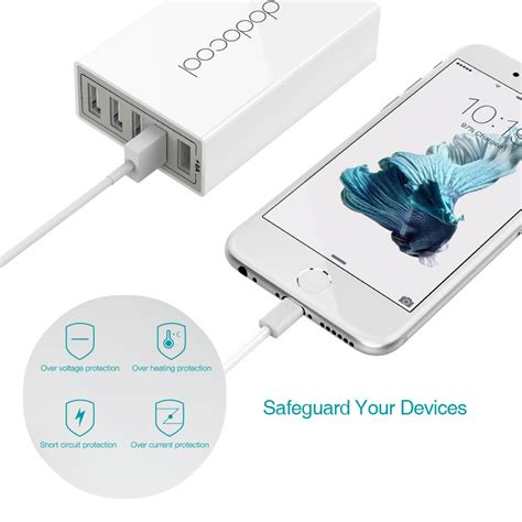 Travel Adapter Charger 5 Usb Ports 40w 8a dodocool 40w 8a 5 port usb charging station travel wall charger power adapter with 1 5m