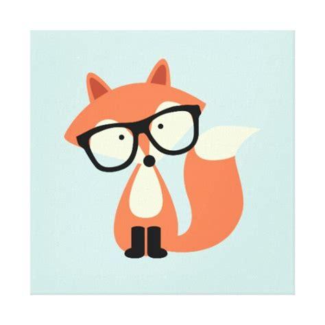 imagenes infantiles de zorros lienzo infantil azul con zorro hipster con gafas negras
