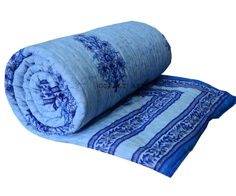 Queen Bed Quilts Hand Block Print Quilt Double Bed Razai In Sky Blue