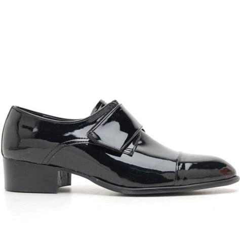 mens black velcro synthetic leather slip on dress shoes