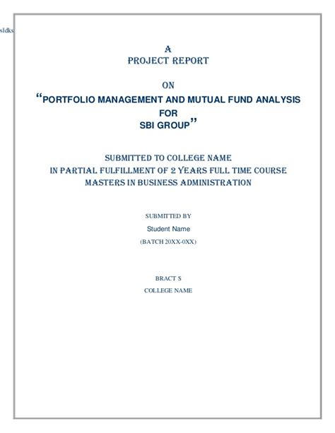 Portfolio Management Project Report Mba by Portfolio Management And Fund Analysis For Sbi