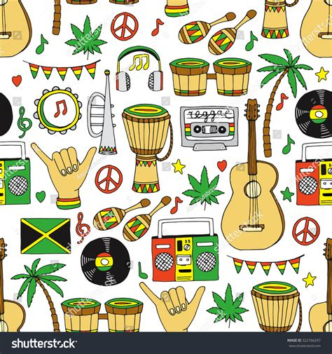 doodle reggae musical instruments seamless pattern reggae background