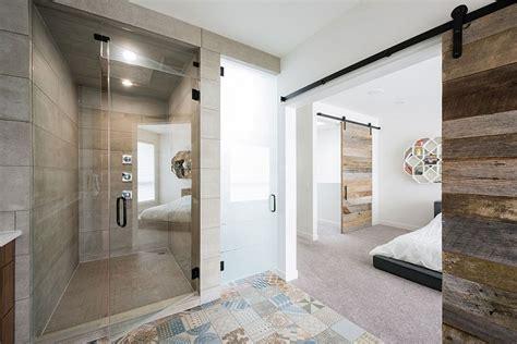 Modern Bathroom Barn Door Project B95 Infill Epitomizes Elegantly Cultural