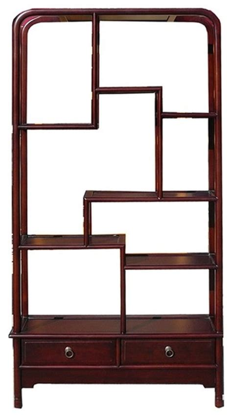 chinese oriental mahogany uneven open curio display