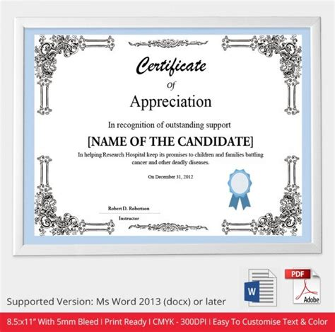 free appreciation certificate templates for word 52 free printable certificate template exles in pdf