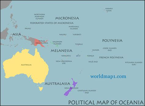 map of oceania countries map of oceania guide of the world