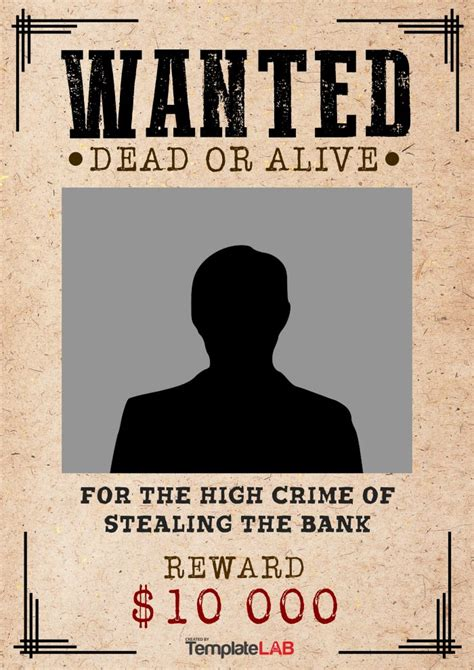 wanted dead or alive poster template free 29 free wanted poster templates fbi and west