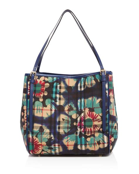 Burberry Canvas Floral Tote by Burberry Small Canterbury Horseferry Check Tote In Blue Lyst