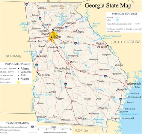 Search Ga State Map A Large Detailed Map Of State Usa