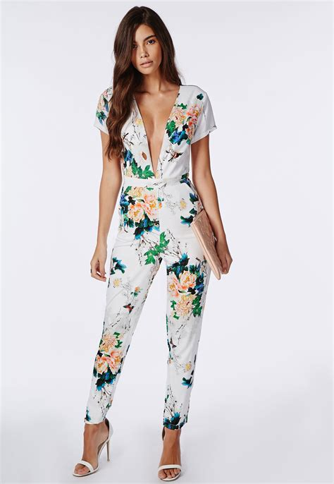 Jumpsuits Flower lyst missguided floral plunge jumpsuit white