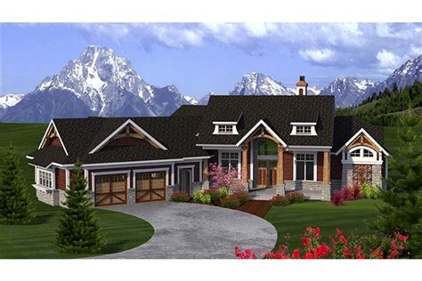 craftsman ranch with angled garage hwbdo77277 ranch from