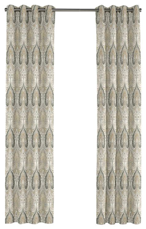 tan and grey curtains gray and tan paisley damask grommet curtain