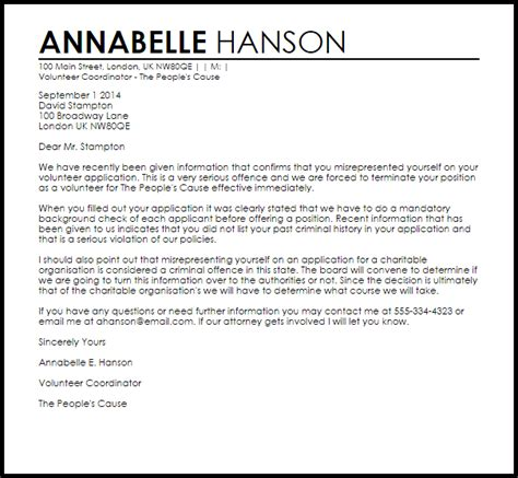 voluntary termination letter template volunteer termination letter termination letters