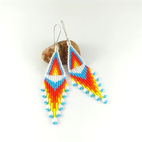 beaded earrings white dangle seed bead earrings beaded earrings american style