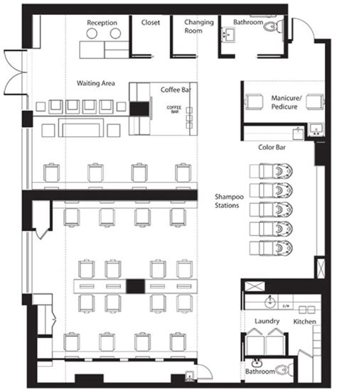 salon layout drawing floor plan salon business project pinterest new york