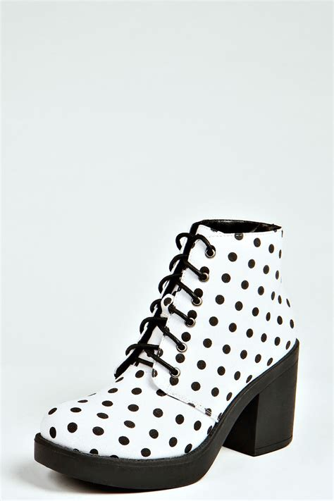 polka dot boots boohoo womens laurie polka dot print lace up boots