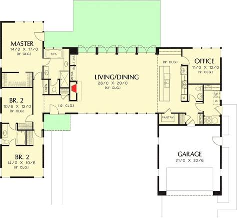 open concept office floor plans plan 69619am 3 bed modern house plan with open concept