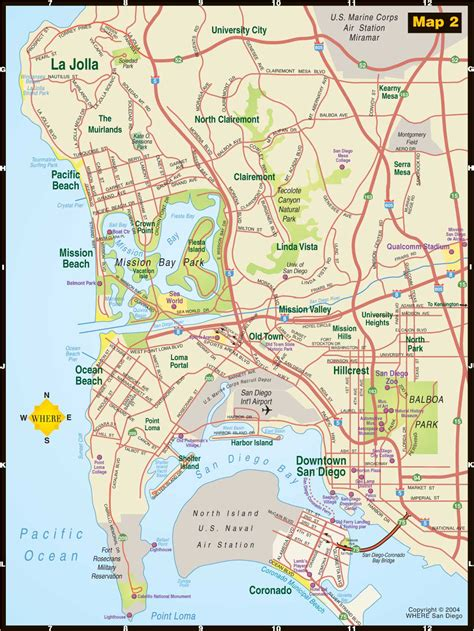 san diego on map of usa san diego sightseeing map