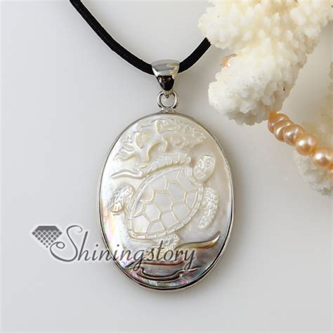 Cheap Handmade Jewelry - oval cameo sea turtle white oyster shell penguin