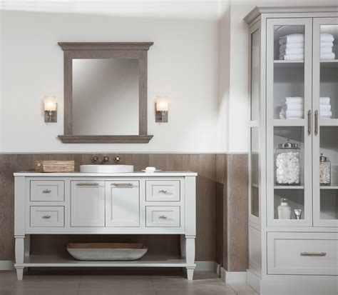 beach style bathroom design weathered wood vanities