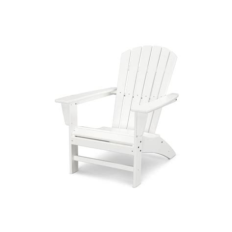 polywood traditional curveback white plastic outdoor patio adirondack chair adwh  home depot
