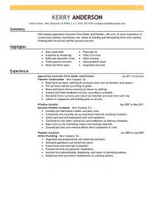 Apprentice Resume Apprentice Concrete Form Setter And Finisher My Perfect